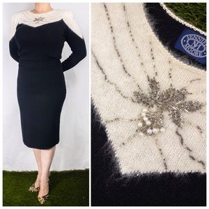 Vintage 1980s Black White Cocktail Sweater Dress
